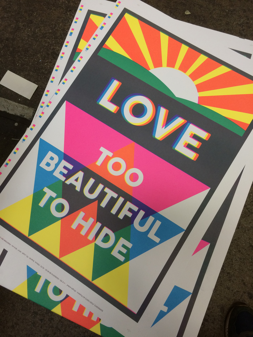 'Love Is Too Beautiful To Hide' one of a series of posters by Jacob Love for Margate Pride