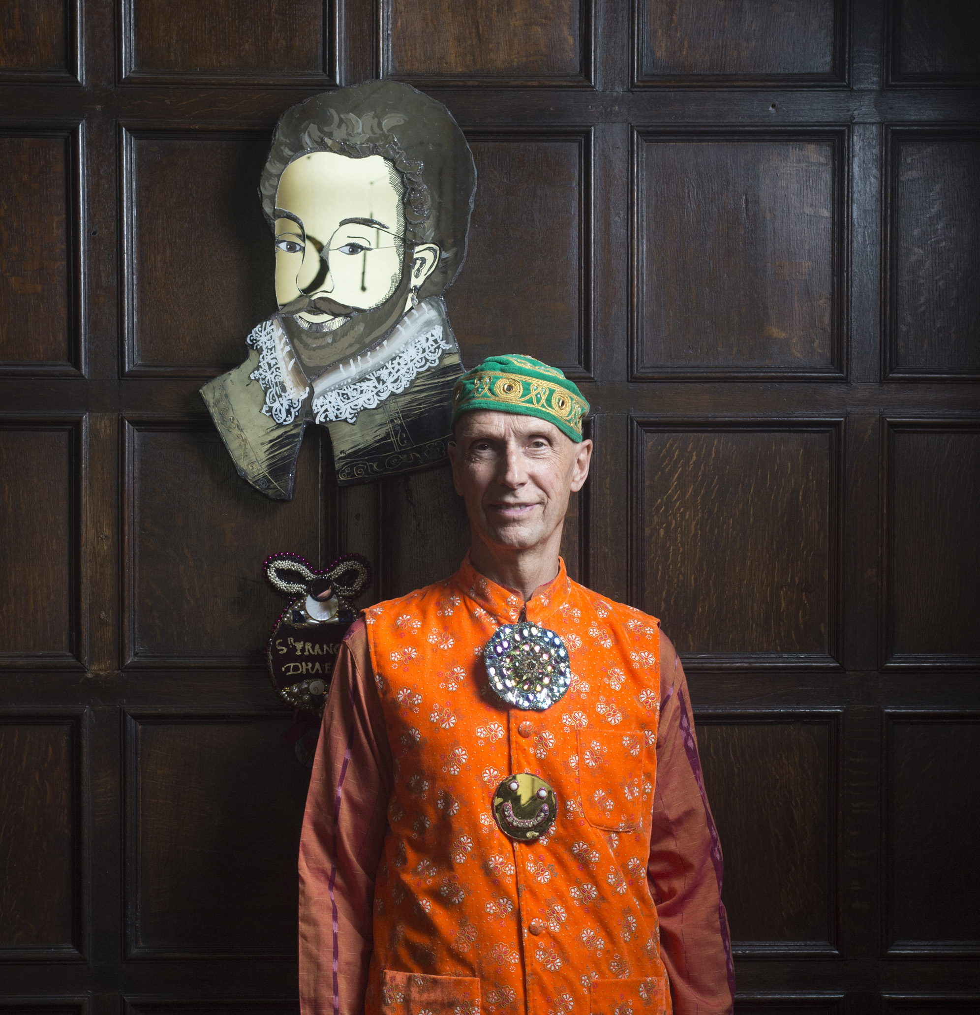 Andrew Logan poses with his portrait of Buckland Abbey's most famous resident, Sir Frances Drake